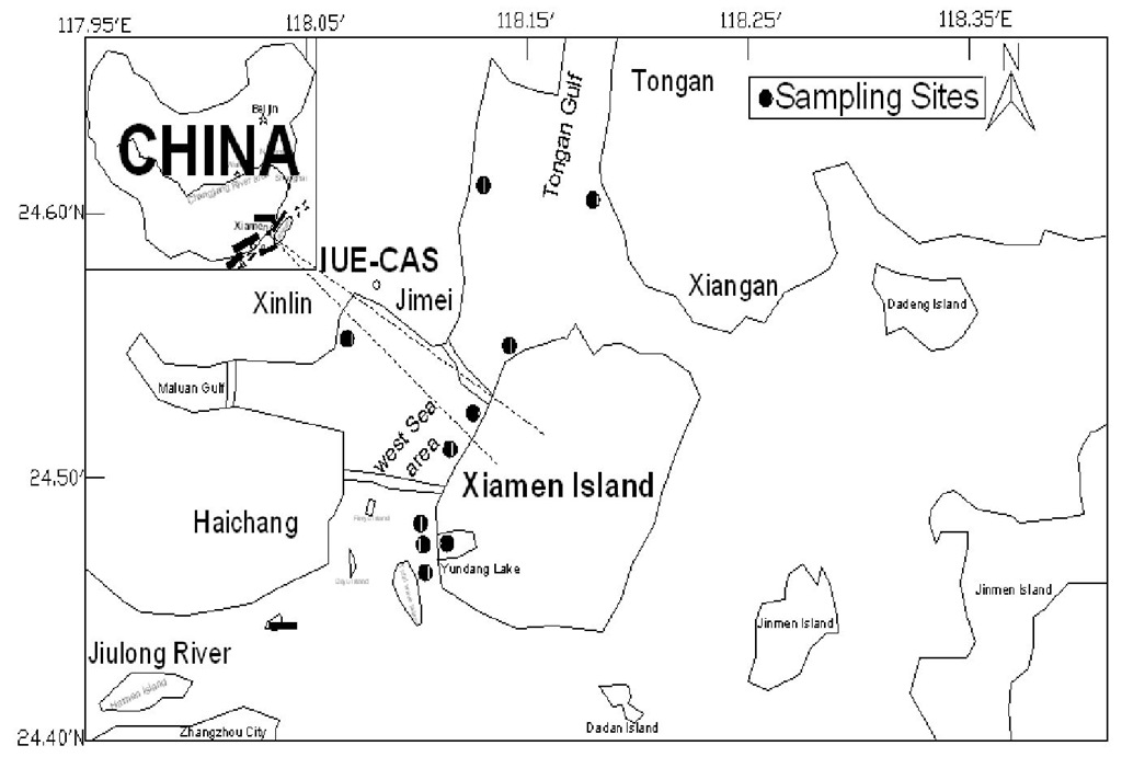 Locations of the sampling sites and schematic map of the Xiamen West Sea area, China.