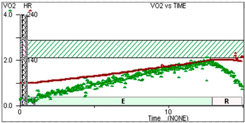 Response in late (9 year) post transplant recipients. HR in red, VO2 in green.