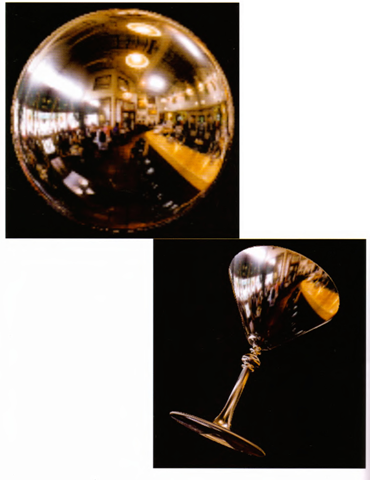 An environment-mapped object. On the left is the original texture, a processed photograph of a coffee shop in Palo Alto, taken with a very wide-angle lens. Below is a goblet with the environment map applied; because of the mapping, the goblet appears to reflect the coffee shop off its surface.