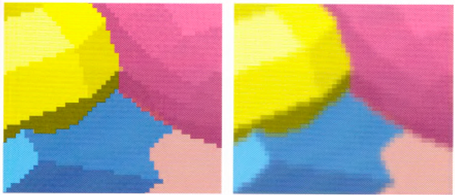 A magnification of the previous scenes. The left image shows the aliased, jagged edges. In the right image, the edges are blurred, or antialiased, and hence less jagged.