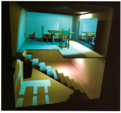 An architectural rendering using OpenGL. This is a rendering of a VRML scene using texture mapping for illumination control and stencil buffering