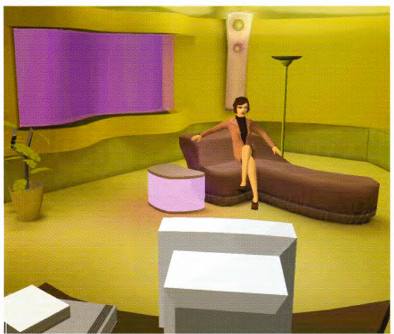 A synthetic being. The illumination in the scene is augmented using texture mapping.