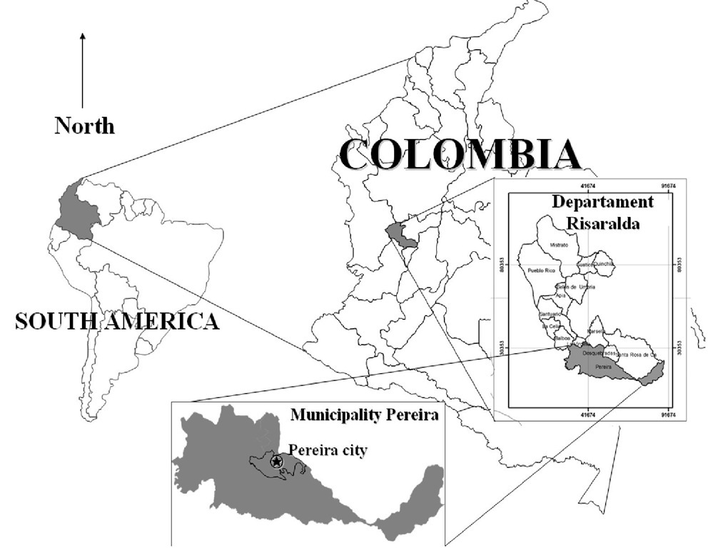 Relative location of Pereira, Risaralda, Colombia, South America.