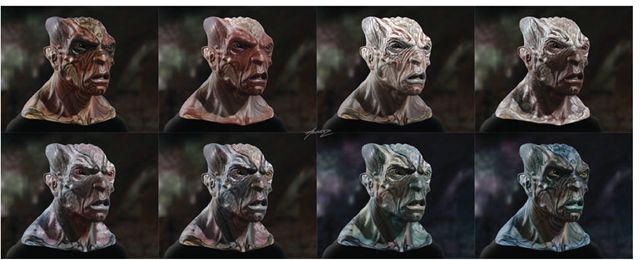These alien heads were designed and rendered by Alex Alvarez in mental ray.