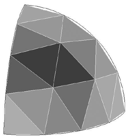 Hemispherical section discretized into several shell elements.