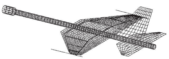 Mesh for the design of a scaled model of an aircraft for dynamic testing in the laboratory.