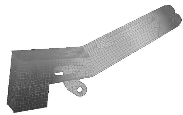 Mesh for a boom showing the stress distribution.