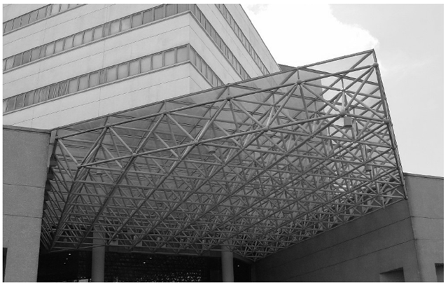 A typical structure made up of truss members. The entrance of the faculty of Engineering, National University of Singapore.