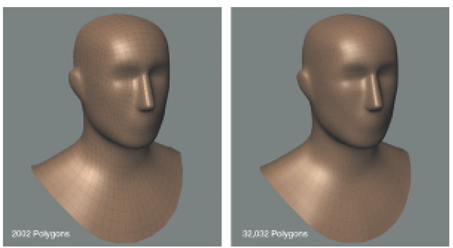 The Resolution of a Model Depends on How Many Polygons Compose the Model. The Model on the Left Has a Lower Resolution than the Model on the Right.