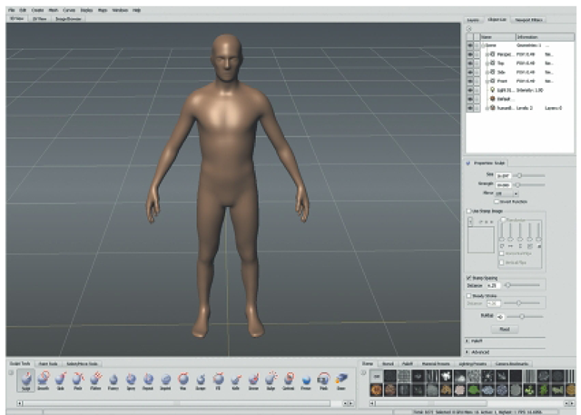 When Working with Mudbox, the Program's interface Provides All the Space and Tools Required for Sculpting.