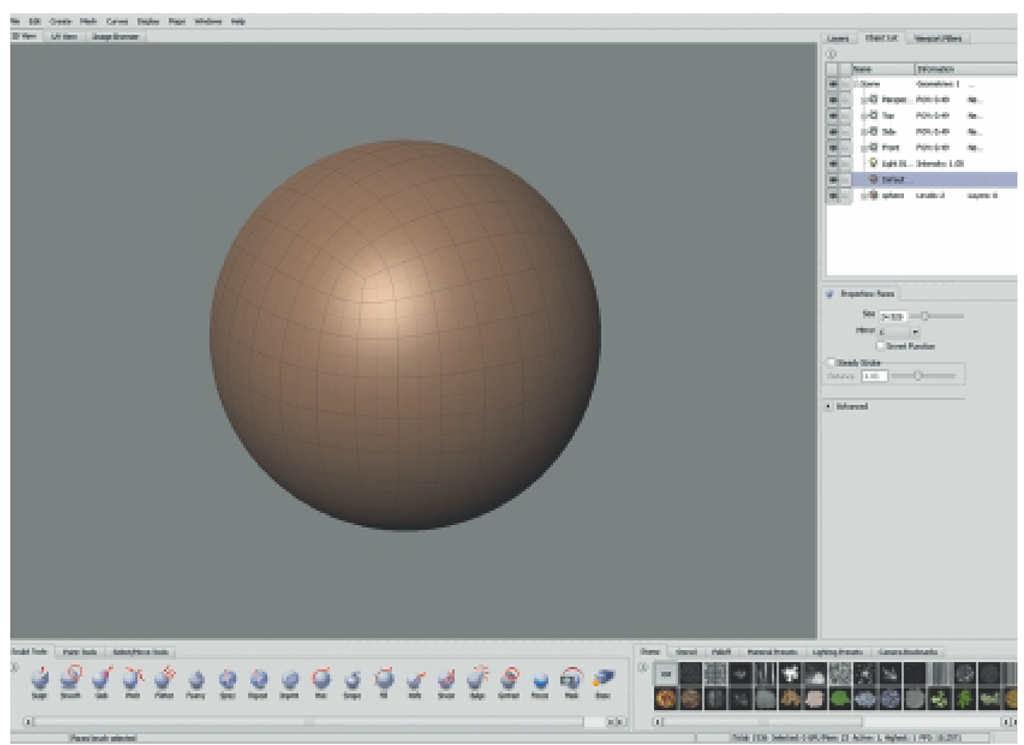 The Pepper Will Be Sculpted from Mudbox's Stock Sphere Model. Insert a Sphere into the Scene and Turn off the Grid and Gradient Background.