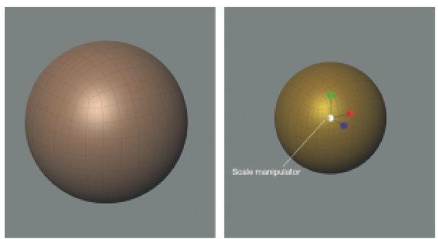 Scale Down the Sphere by about 50%. You May Scale a Selected Object by Clicking and Dragging the Scale manipulator or by Numerically Changing the Values of the Rotate x, y, z input Fields.