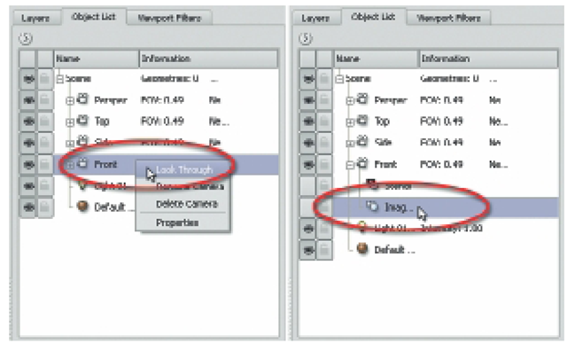 In the Object List, Right-Click on the Front Camera and Choose Look Through. Then Expand the Camera Tree and Select Image Plane. In the Properties Window, Click on Import to Load the Reference Sketch.