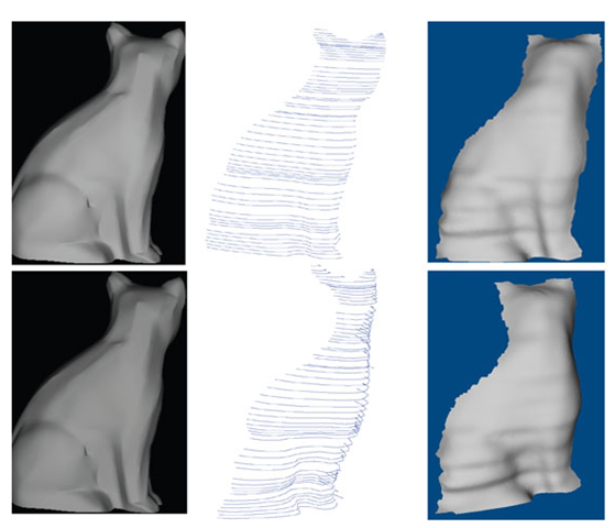 Shape recovery for the synthetic cat model. Left column: two images used for reconstruction. Middle column: characteristic curves for the view corresponding to the top image in the left column (top) and the characteristic curves observed in a different view (bottom).Right column: Recovered shape with shadings in two different views.