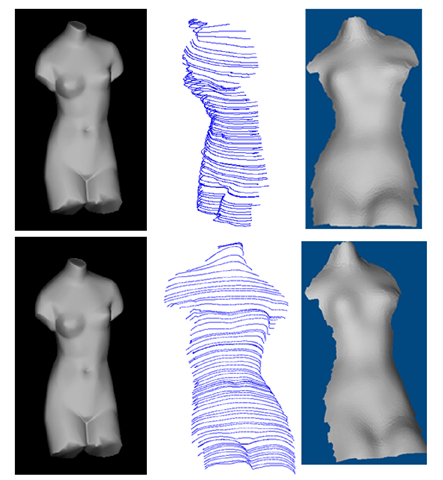 Shape recovery for the Venus model. Left column: two images used for shape recovery. Middle column: characteristic curves for the view corresponding to the top image in the left column (top) and the characteristic curves observed in a different view (bottom).Right column: Recovered shape with shadings in two different views
