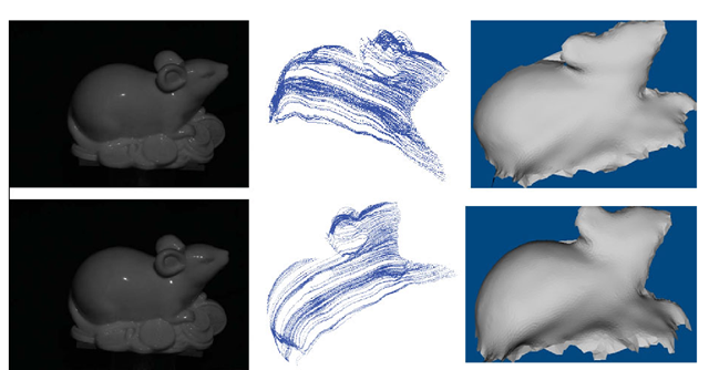 Shape recovery for a mouse toy. Left column: two images used for shape recovery. Middle column: characteristic curves for the view corresponding to the top image in the left column (top) and the characteristic curves observed in a different view (bottom).Right column: Recovered shape with shadings in two different views.