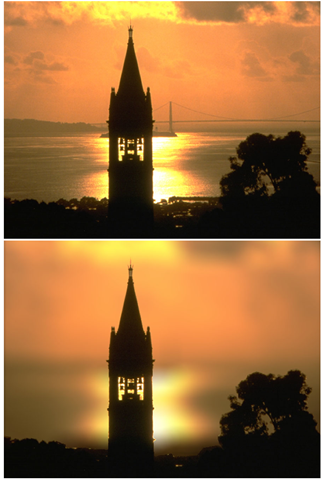 Original photograph with both Campanille and Golden Gate Bridge in focus (top) and output image with background blurred (bottom)