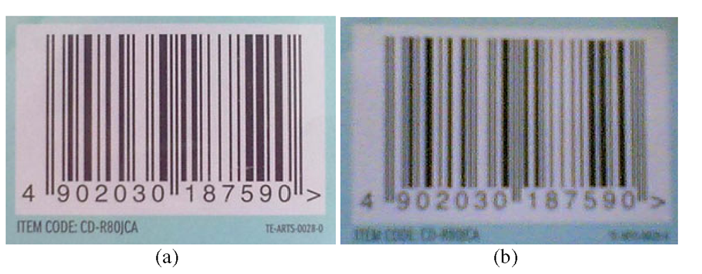 A sample image captured by a device with autofocus (a) and without autofocus (b)