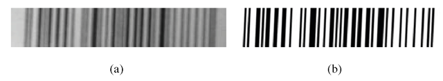 An example of training image captured by a device without autofocus (a), and its expected truth image (b). Only the rectangular section containing the barcode was extracted from the original image.