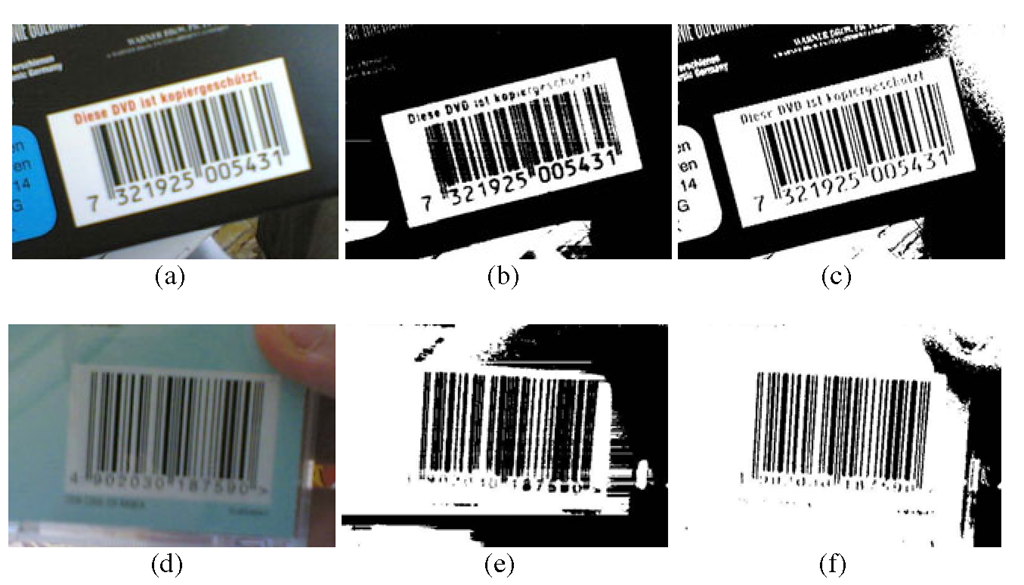 Two examples of barcode contained in blurred images captured with a device without AF (a)(d). Thresholding results obtained with the library ZXing (b)(e), and corresponding threshold obtained with ZXing-MOD (c)(f)