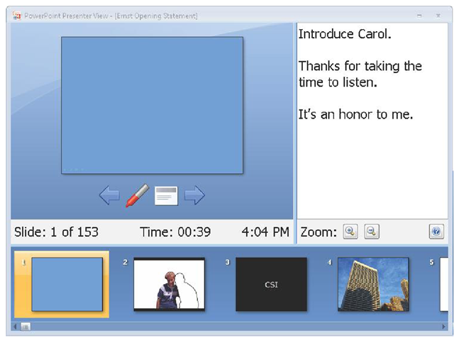 A feature in PowerPoint called Presenter view gave Mark a view of the current slide the jurors saw on screen, along with his own speaker notes and thumbnail views of upcoming slides.