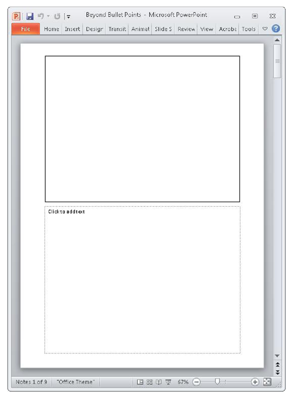 Notes Page view includes the on-screen slide area above and an off-screen notes area below.