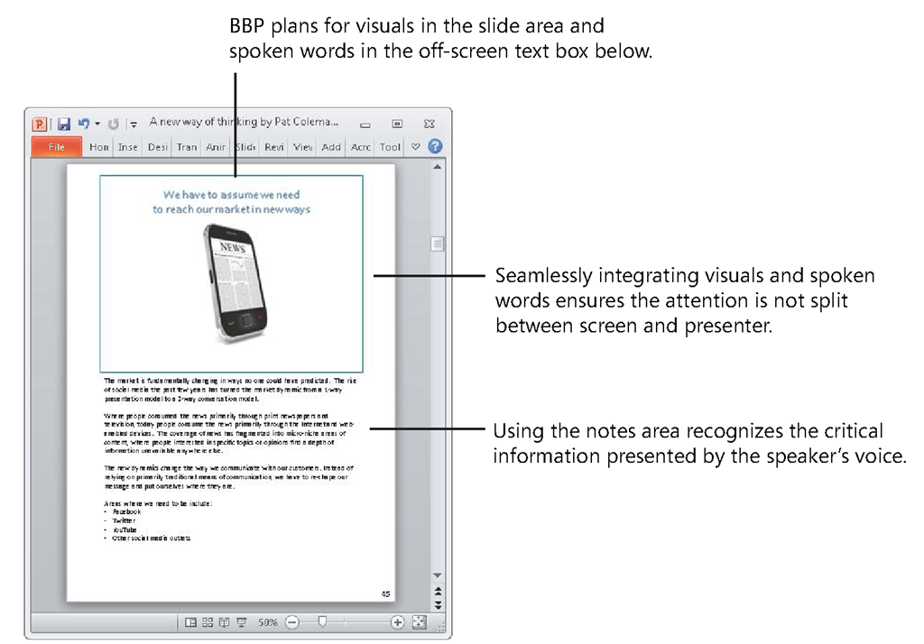 With BBP, you use Notes Page view to manage the visual channel in the on-screen slide area above and the verbal channel in the off-screen text box below.