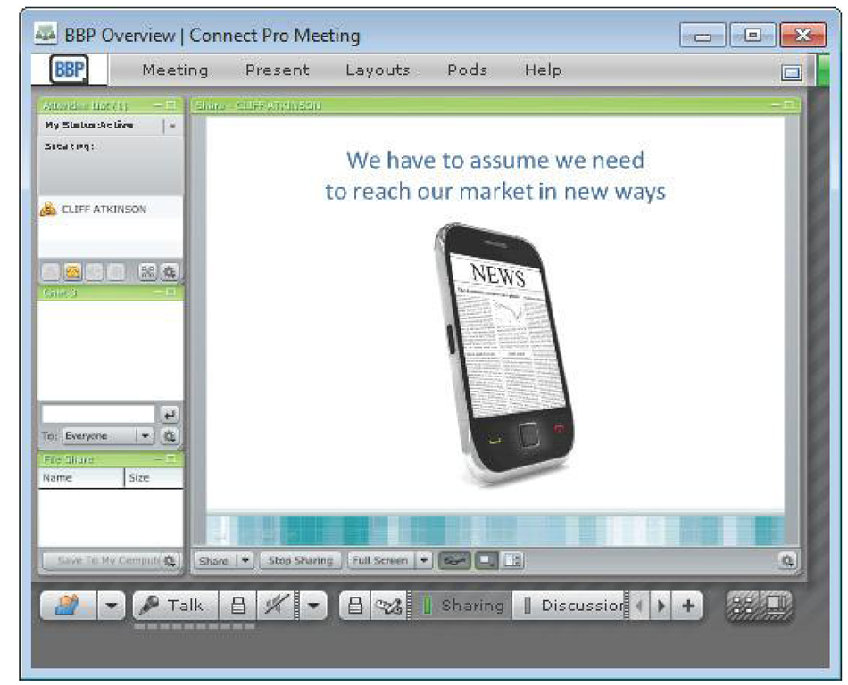 Presenting online using an online meeting tool.