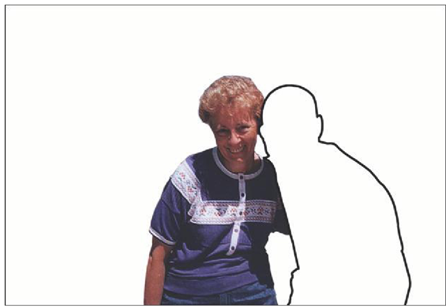 This slide shows Bob missing from the photograph, with only a thick black line to indicate where he once was.
