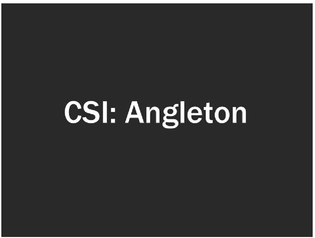 """Next the words """"CSI: Angleton"""" appeared on the screen as Mark told jurors that they would be like crime scene investigators, sorting through the evidence to figure out what caused Bob's death."""