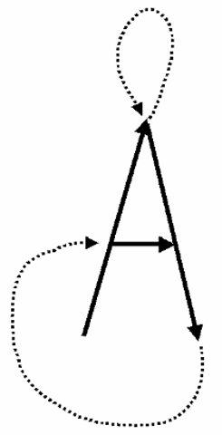 Vector scanning. The dotted lines represent portions of the scan in which no line is being drawn or illuminated, but rather the drawing device is being repositioned to create the next line.
