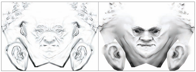A cavity map and an Ambient Occlusion map. The first image is a cavity map. Notice how the recesses are shaded whereas the Ambient Occlusion image shows a gradient shading into the recessed areas of the head.