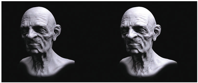 This character head was rendered in mental ray using a displacement map and a cavity map in the diffuse channel. The first image is the render without the cavity map; the second image is with the cavity map.