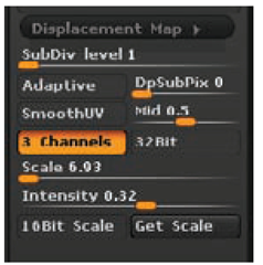 The Displacement Map options