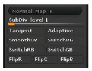 The Normal Map menu options