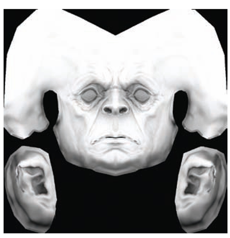 An Ambient Occlusion map for a character head