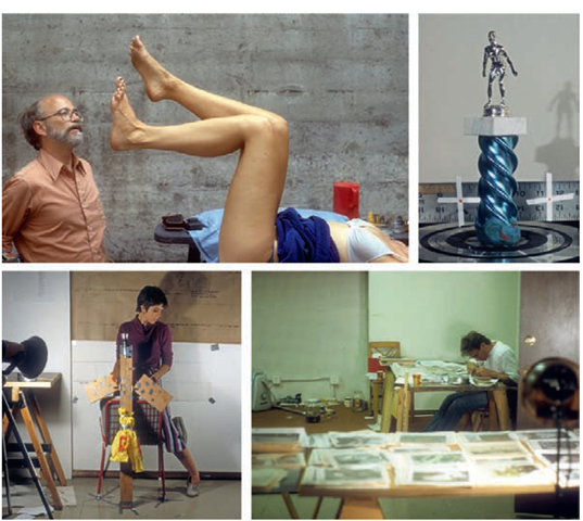 "(Clockwise from top left) Jim Blashfield directs the single frame animation of the protagonist's levitating legs in Talking Heads' And She Was music video; a trophy, soon to be surrounded by party hats and bowling balls, awaits frame-by-frame rotation on one of the many improvised animation rigs used in the production of And She Was; a cutter, X-Acto knife in hand, separates one of hundreds of color Xerox images from its background for later registration and re-animation onto 35 mm movie film; producer Melissa Marsland advances the hinged wings of the ""flying 2 x 4"" as it is animated onto color slide film for later Xeroxing"