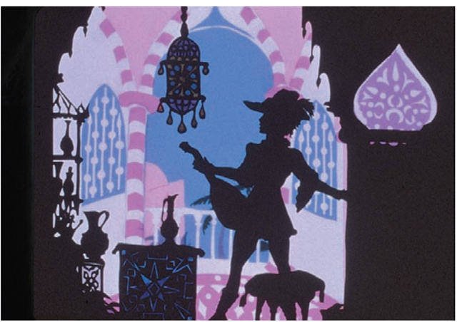 a still from Aucassin and Nicolette, by Lotte Reiniger.