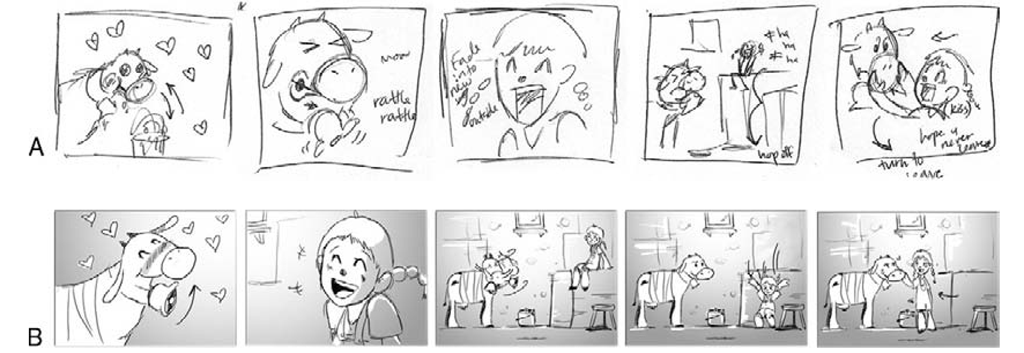 """Images of """"thumbnail"""" boards. a is a thumbnail and B is a finished storyboard."""