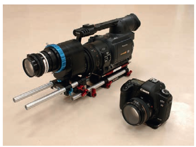 Image of a Panasonic digital video camera and a Canon digital still camera.