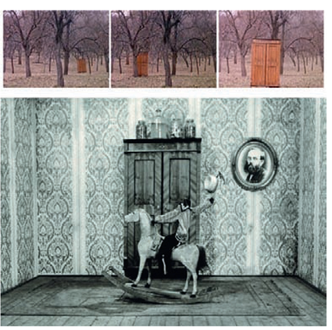 A series of stills from the cabinet in Jabberwocky, directed by Jan Svankmajer 1971.