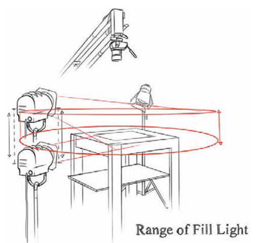 the range and placement of the fill light on a downshooter with dimensional objects.