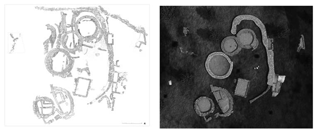 (a) Plan of the sacred area on the Acropolis of Polizzello Mountain; (b) virtual replica of sacred area on the Acropolis of Polizzello Mountain.