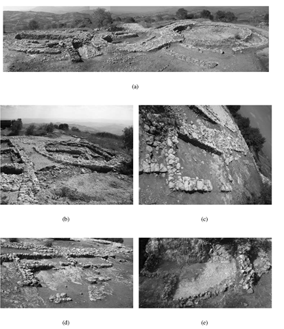 Polizzello Acropolis: (a) Buildings A, B, and E, view from south; (b) Building D view from north; (c) Room III, view from south east; (d) Temenos House, view from east; (e) East House, digital ortophotograph.