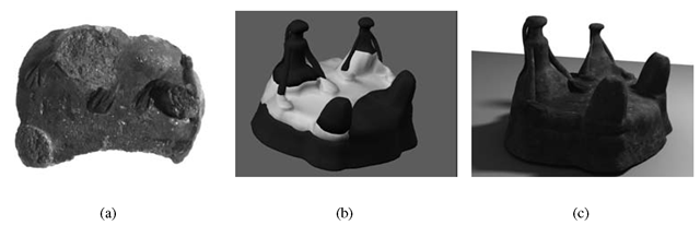 (a) Early Minoan clay model from Phaistos; (b) digital reintegration of the virtual model; (c) virtual version of the clay model.
