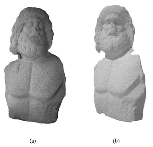 (a)    Marble statue of Roman Republic period depicting the god Asclepius, from Syracuse Museum; (b)    3D model of the statue obtained with laser scanning technique.