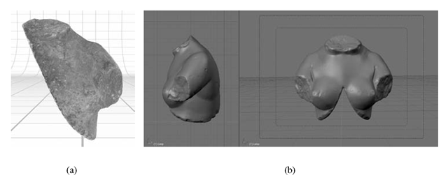 (a) Late Roman marble female torso from the excavation at St. Agata church at Catania; (b) phases of study and restoration analysis in virtual ambient of the torso acquired with laser scanning technique.