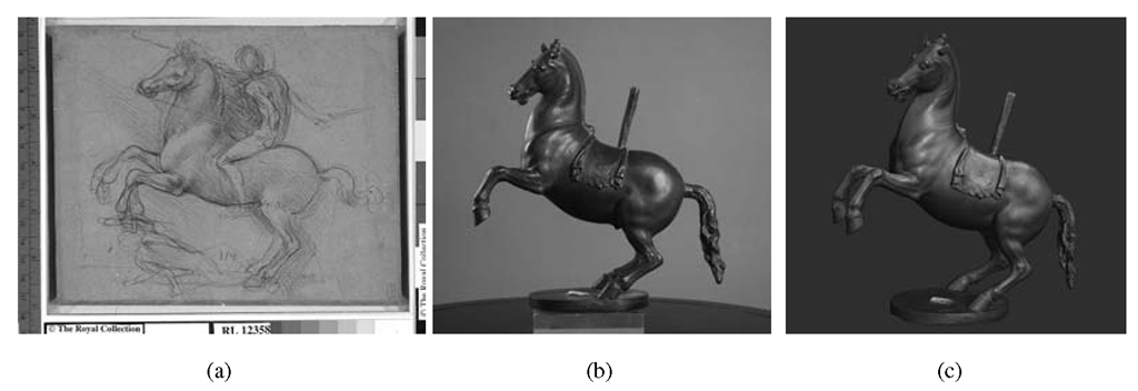 (a) The Windsor silverpoint drawing (WRL #12358: The Royal Collection © 2007 Her Majesty Queen Elizabeth II). (b) The small bronze horse (Archeological Museum, Florence). (c) A snapshot of the model produced with 3D scanning.