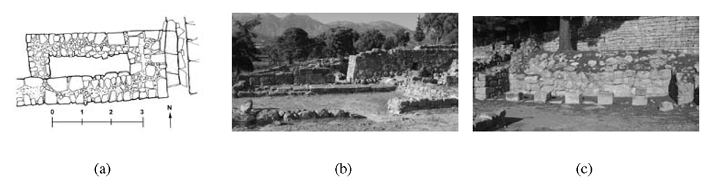 Haghia Triada open area: (a) plan of the Propylon; (b) the Propylon in the current preservation state, from South; (c) the Stoa in the current preservation state, view from west.