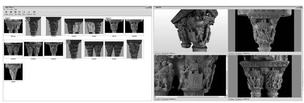 The visual comparison tool called LightTable [24]: on the left are the models downloaded locally, on the right the screenshot of the browser that allows inspection of the 3D model and three images of the same capital.